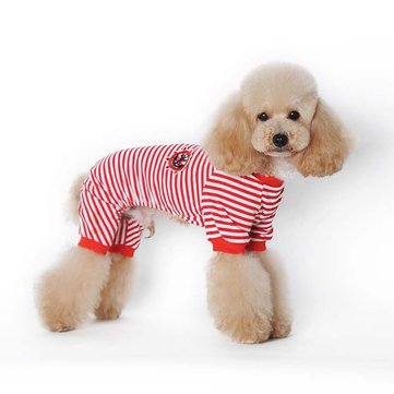 Pet Cartoon Striped Cotton Pajamas Small Dog Cat Jumpsuit Coat Pet T-shirt For Teddy Small Dogs