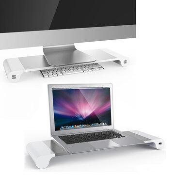 4 Portlu USB Şarj Cihazı Bilgisayar Monitör Yükseltici Space MacBook Defteri İçin Stand Standı