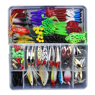 ZANLURE 141pcs/set Fishing Lure Kit Hooks Crankbait Plastic Worms Jigs Artificial Baits With Box
