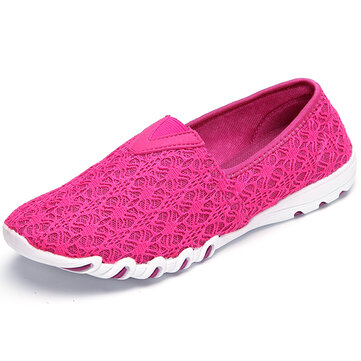 Hollow Out Mesh Slip On Ademende Flat Instappers