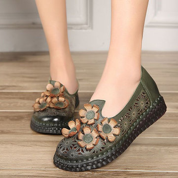 SOCOFY Genuine Leather Retro Handmade Shoe Hollow Out Flower Flats