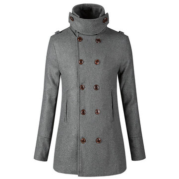 Slim Double Breasted Mid Long Stand Collar Woolen Trench