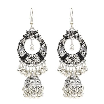 Bohemian Tassel Earring Hallow Bell Drop Earrings Retro Sliver Earrings for Women