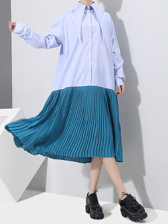 Women Casual Half Button Patchwork Shirt Dresses Long Sleeve Lapel Pleated Dress