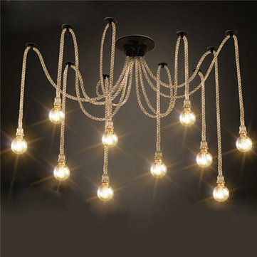 E27 12 Heads Industrial Chandeliers Pendant Lights Vintage Hemp Rope Ceiling Lamp Fixture