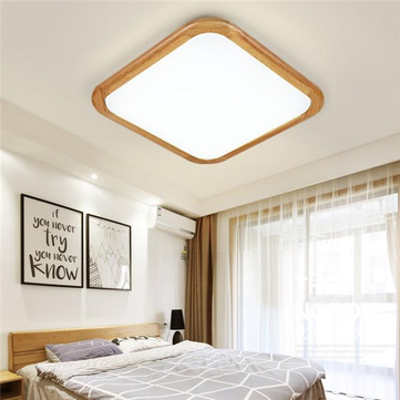 12W 1000LM LED Ceiling Lights Wood Square Flush Mount Fixture Lamp for Kitchen Bedroom 110V-240V