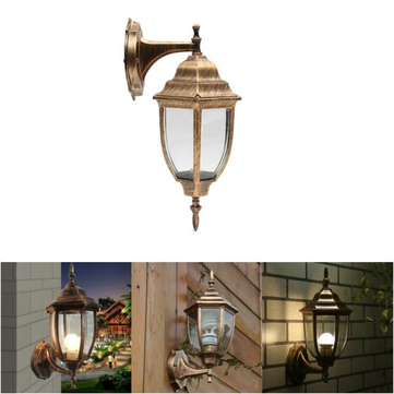 E27 Bulb Base Outdoor Wall Light Exterior Fixture Bronze Lantern Glass Porch Lamp