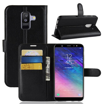 Litchi Leather Flip Card Slots Bracket Wallet Protective Case for Samsung Galaxy A6 Plus 2018
