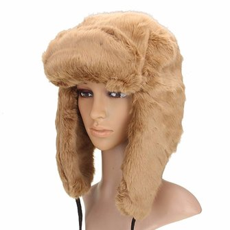 Women Ladies Warm Faux Fox Fur Hat Russian Style Earflap Cap Trapper Hat