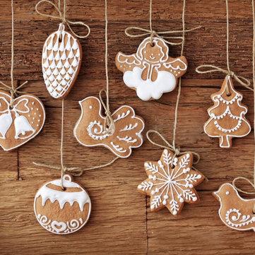 11Pcs Cartoon Animal Snowflake Biscuits Hanging Christmas Tree Ornament Handmade Decorations