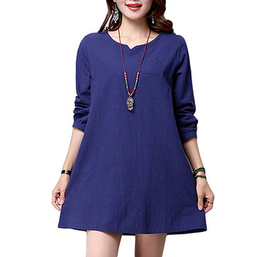Vintage Elegant Women Brief V Neck Straight Cotton Linen Mini Dress