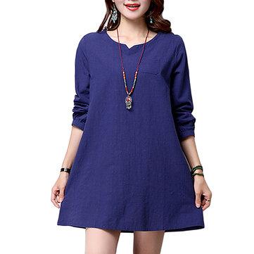 Vintage Elegant Women Brief V Neck Straight Cotton Linen Mini Dress