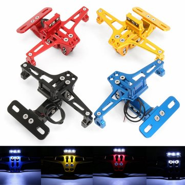 Universal CNC Moroecycle Alloy License Number Plate Holder Bracket LED Light