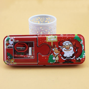 Santa Claus Christmas Gift Stationery Set Elementary School Supplies Tin Plate Pencil Case
