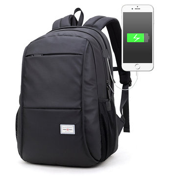 Men Large Capacity External USB Charging Travel Bag Laptop Backpack for 15.6-Inch Laptops