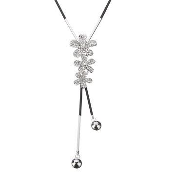 보헤미아 귀여운 라인 석 꽃 긴 체인 목걸이
