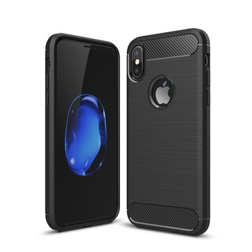 Bakeey Carbon Fiber Brushed Finish Anti Fingerprint Soft TPU Case For iPhone X