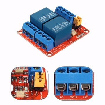 12V 2 Channel Relay Module With Optocoupler Support High Low Level Trigger For Arduino