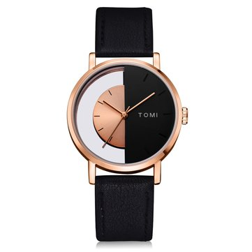 TOMI T017 Transparent Vintage Style Leather Quartz Watch