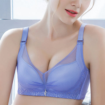 Lace Embroidery Mesh Gather Plunge Bras