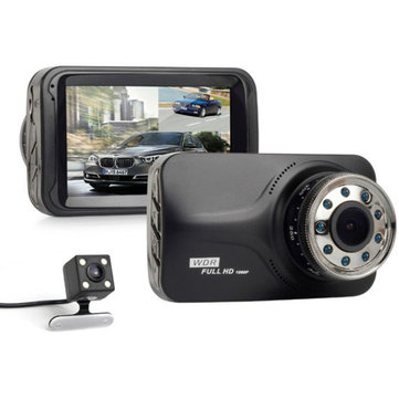 H30B Dual Lens 3.0 Inch HD 1080P Full LCD Screen Infrared Night Vision Car DVR