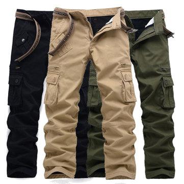 กางเกงหลวม Polar ขนแกะแบบหนากางเกงขายาวบุรุษ Mens Casual Multi Pockets Outdooors Trousers