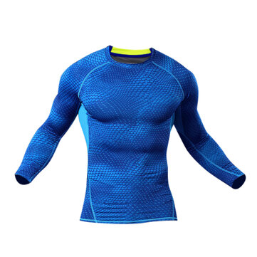 Men Compression Body Shaper Tight Sports Stretch Shirt Long Sleeve O-Neck Fitness Base Layer