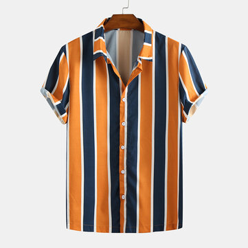 Mens Summer Hit Color Stripe Turn Down Collar Casual Shirts