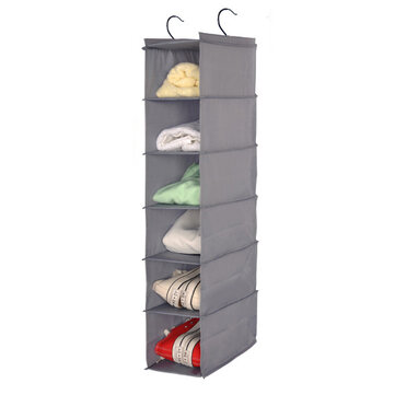 Minleaf Waterproof Oxford 6 Layers 2 Hooks Hanging Closet Organizer Foldable Storage Bag Shelves