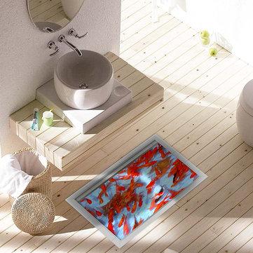 Pag 3d impermeabile laghetto di pesci rossi modello bagno adesivo pavimento antiscivolo doccia lavabile arredamento della camera