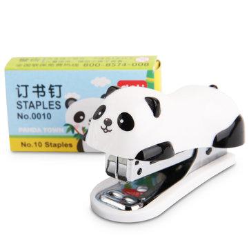 Deli Stapler Set Mini Cartoon Panda Paper Binding Binder Book Staples With Staples School Supplies