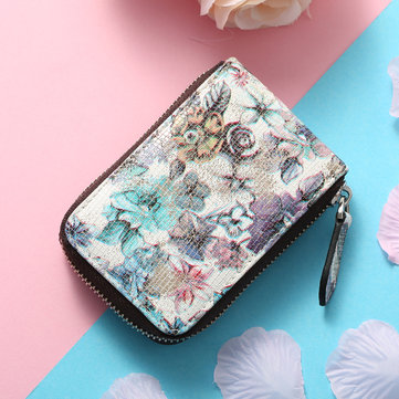 Brenice Women RFID 11 Card Slots Cowhide National Floral Coin Purse Short Wallet