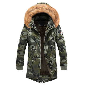 Mens Winter Parka Faux Fur Hooded Camouflage Multi Pockets