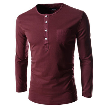 Mens Casual Solid Color Long Sleeve T-Shirts