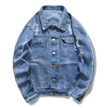 Mens Fashionable Ripped Denim Jacket