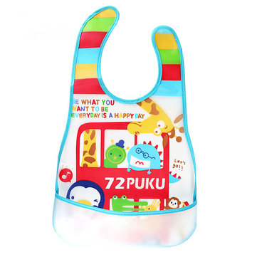 Buy PUKU High Quality Baby Infant Waterproof Bibs PEVA Environmental Feeding Bibs Burp Cloth for $6.99 in Banggood store