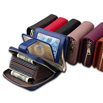 Genuine Leather Unisex 10 Card Slot Wallet Fashion Hasp Card Holder