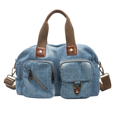 Women Denim Travel Multi-pocket Handbag Casual Crossbody Bag