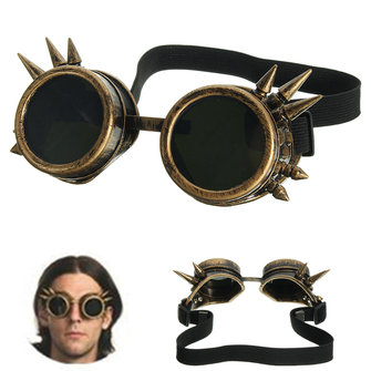 Men Vintage Victorian Gothic Cosplay Rivet Steampunk Goggles Glasses Hippie Sunglasses