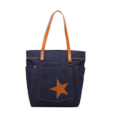 Women Jean Leisure Retro Large Capacity Handbag Shoulder Bag