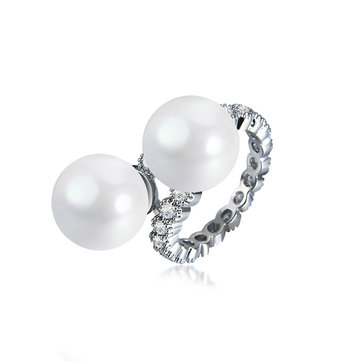 Elegant Ring Pearl Full Zircon Irregular Women Ring