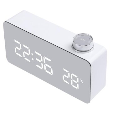 TS-S51 Alarm Clock Multifunction Electronic Digital Thermometer with Clock Snooze Large LED Display Home Decor Mirror Function