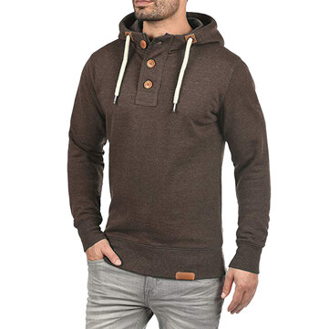 Men's Button Design Hooded Casual Overhead Sweatshirt