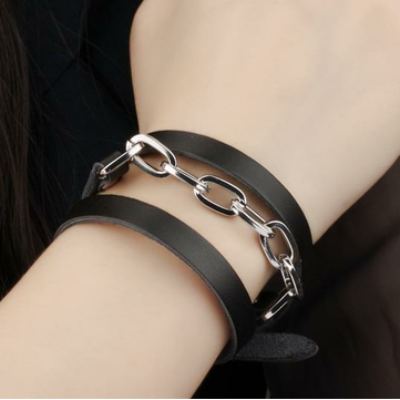 Black Leather Stainless Steel Bracelet Chain Gift For Men Jewelry