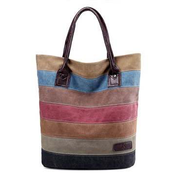 Women Stripe Leisure Canvas Tote Handbags Travel Tote Bags