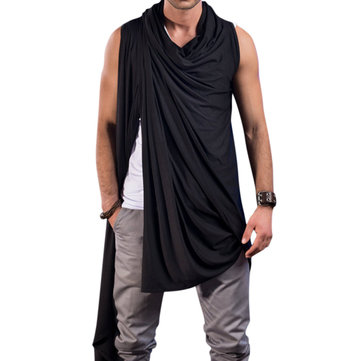 ChArmkpR Asymmetric Sleeveless Draped Cardigans Shawl Collar