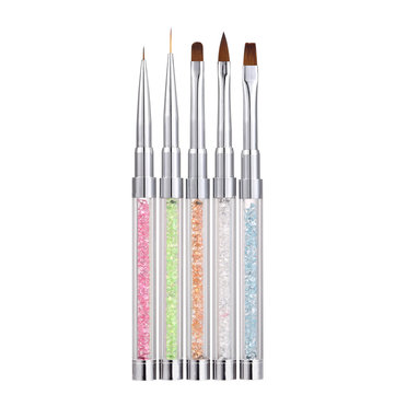 5Pcs Nail Art Brush Pen Rhinestone Metal Acrylic Handle Gradient Carving Powder UV Gel Liner