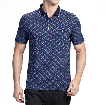 Mens Geometric Printing Wash and Wear Casual Golf Shirt