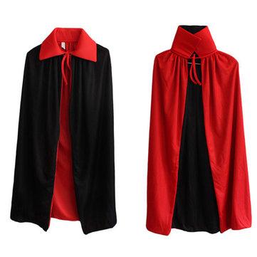 Cadılar bayramı yaka siyah ve kırmızı cloak cadı pelerin vampir pelerin çift pelerin ölüm tanrı şeytan