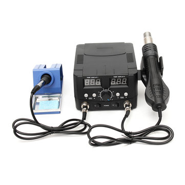 110V 2 In 1 Soldering Iron Desoldering Rework Solder Station LCD Hot Air Heater